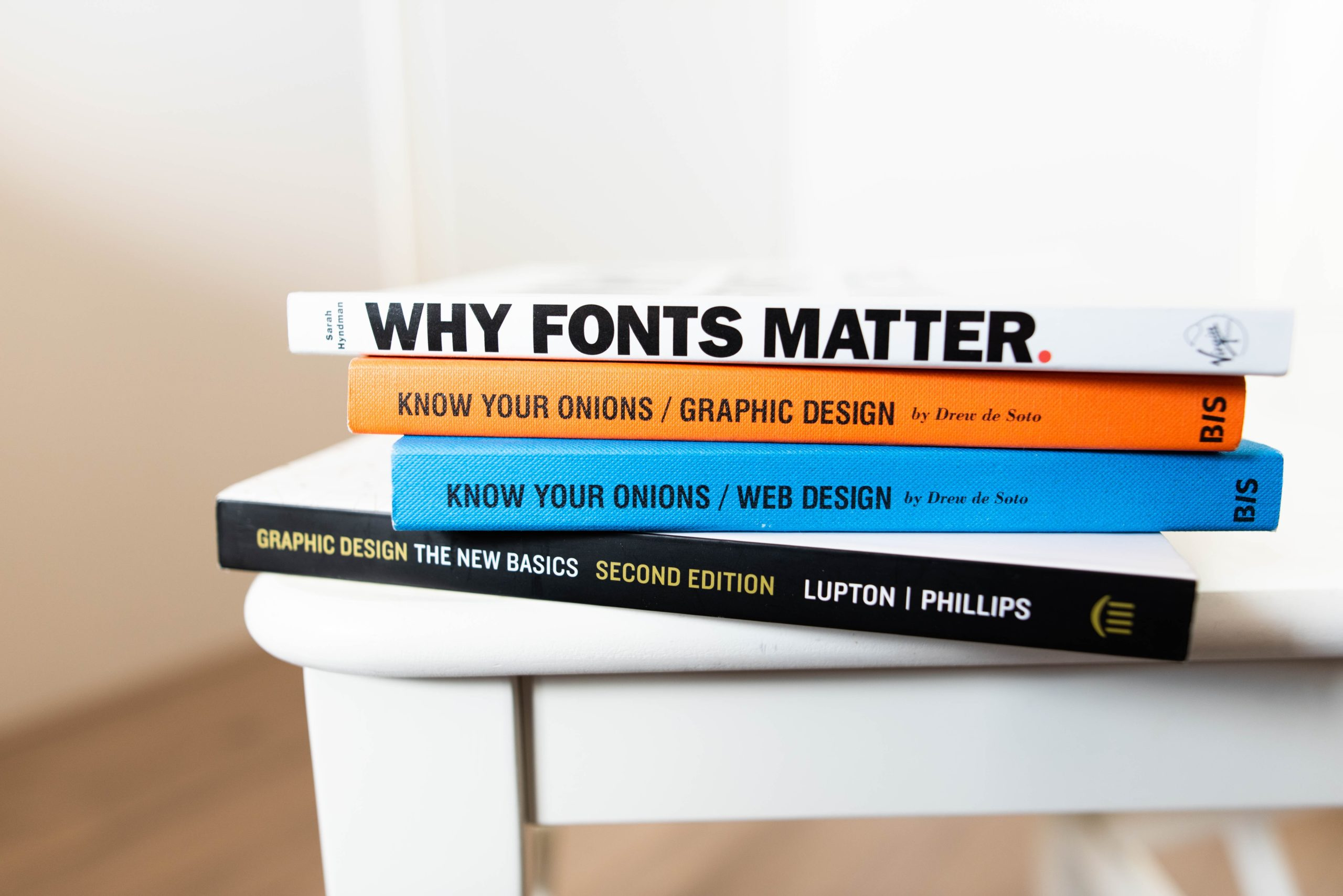 Stack of Graphic Design and Typography Books