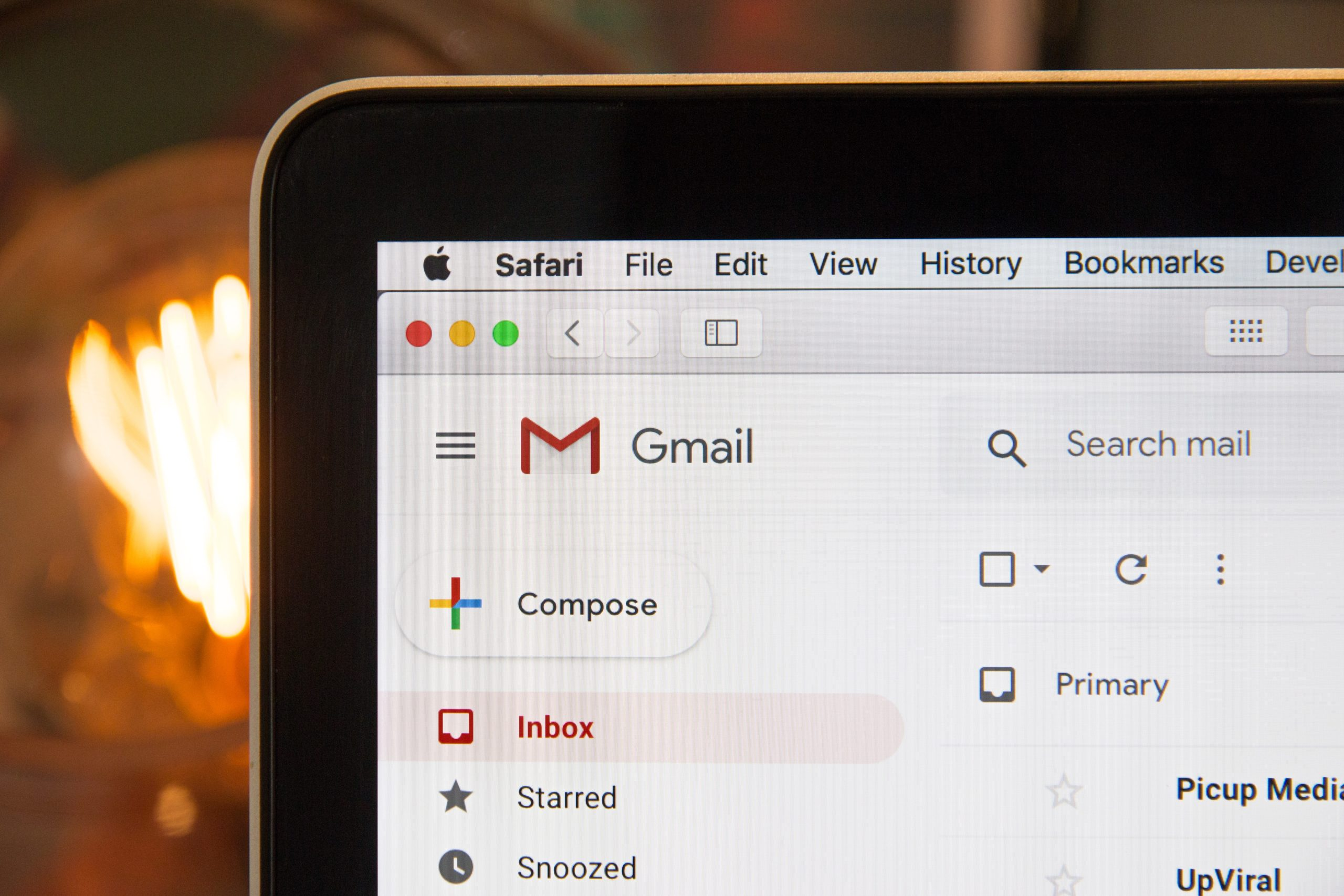 Close Up of Screen Displaying Gmail Inbox