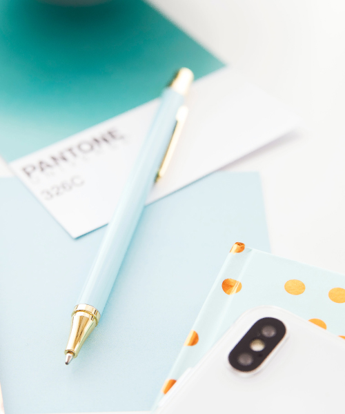 Teal Pantone Color Swatch with Coordinating Pen, Notebook, and Phone Case