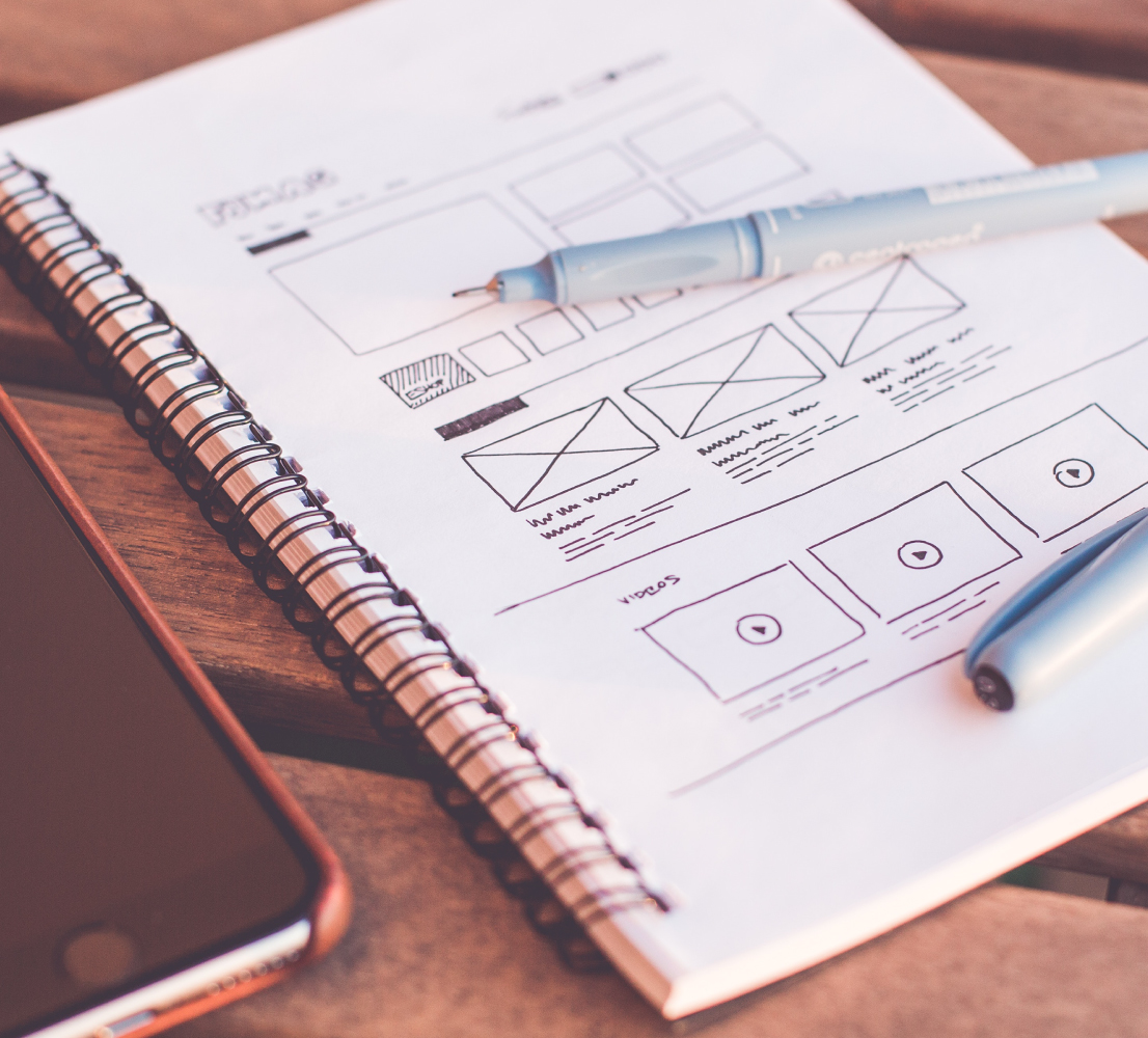 Website Design Wireframe Sketches on White Sketchbook