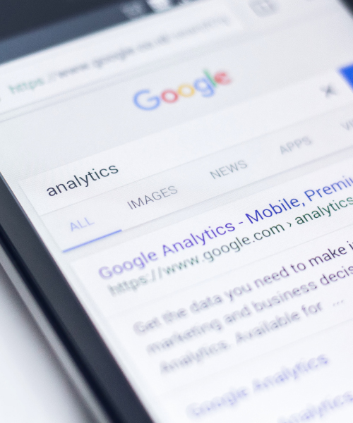 Google Analytics Search Results on Screen