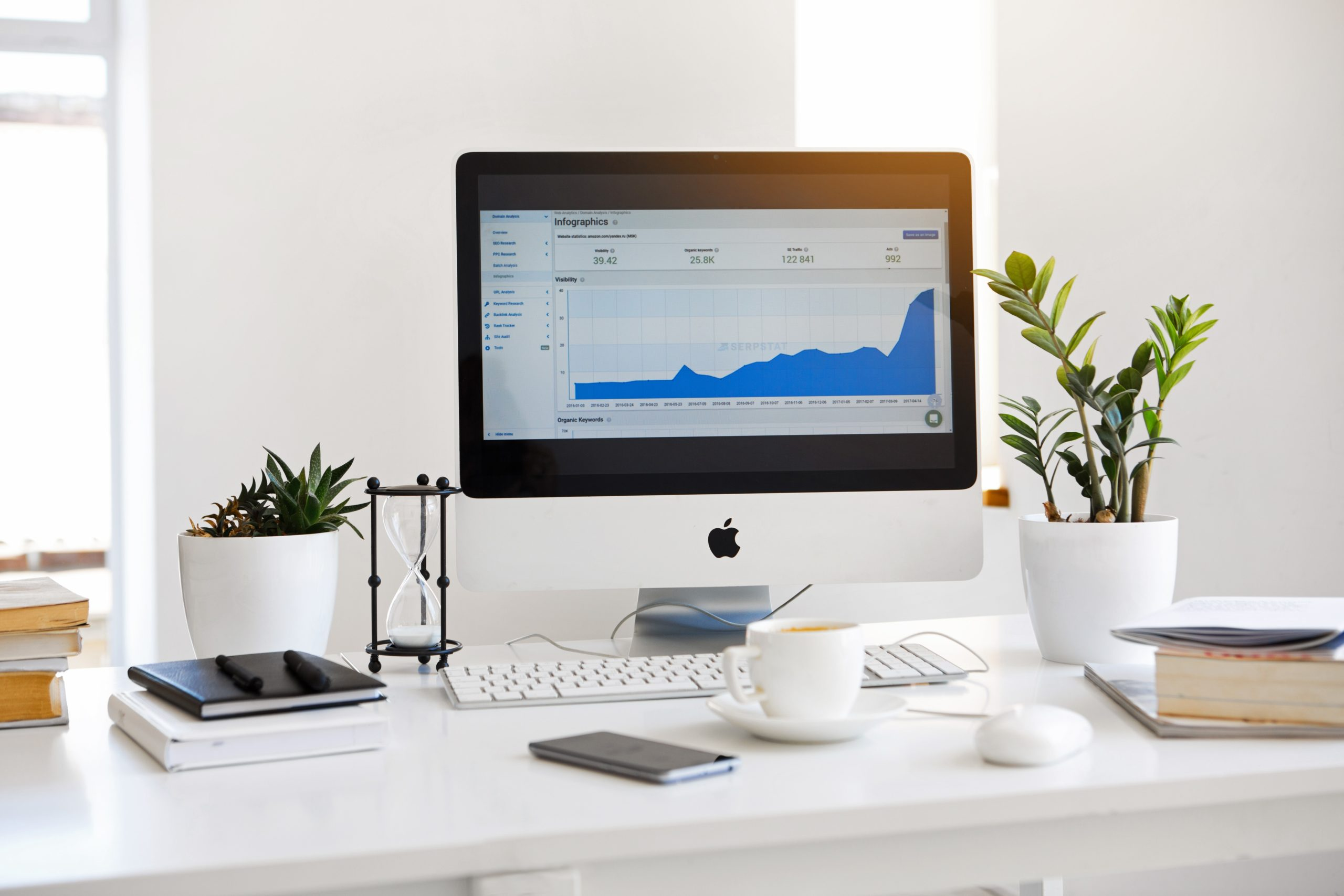Analytics Tool on iMac Screen, Located on Top of White Desk