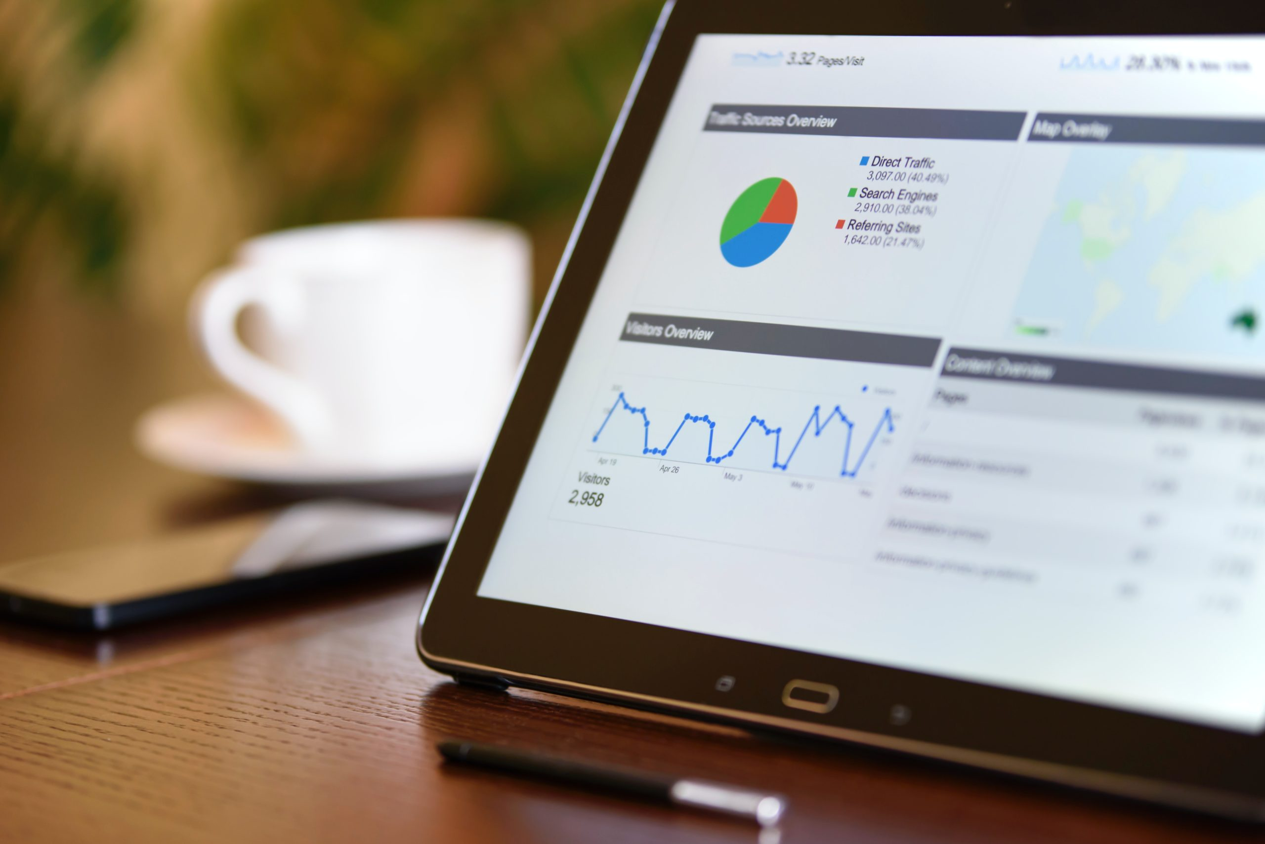 SEO Analytics Charts and Reports on Tablet Screen