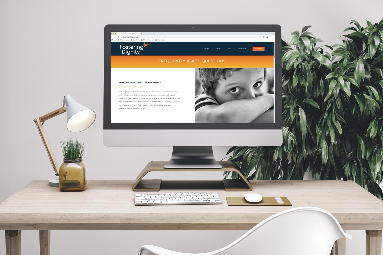 Fostering Dignity Website Design on Desktop