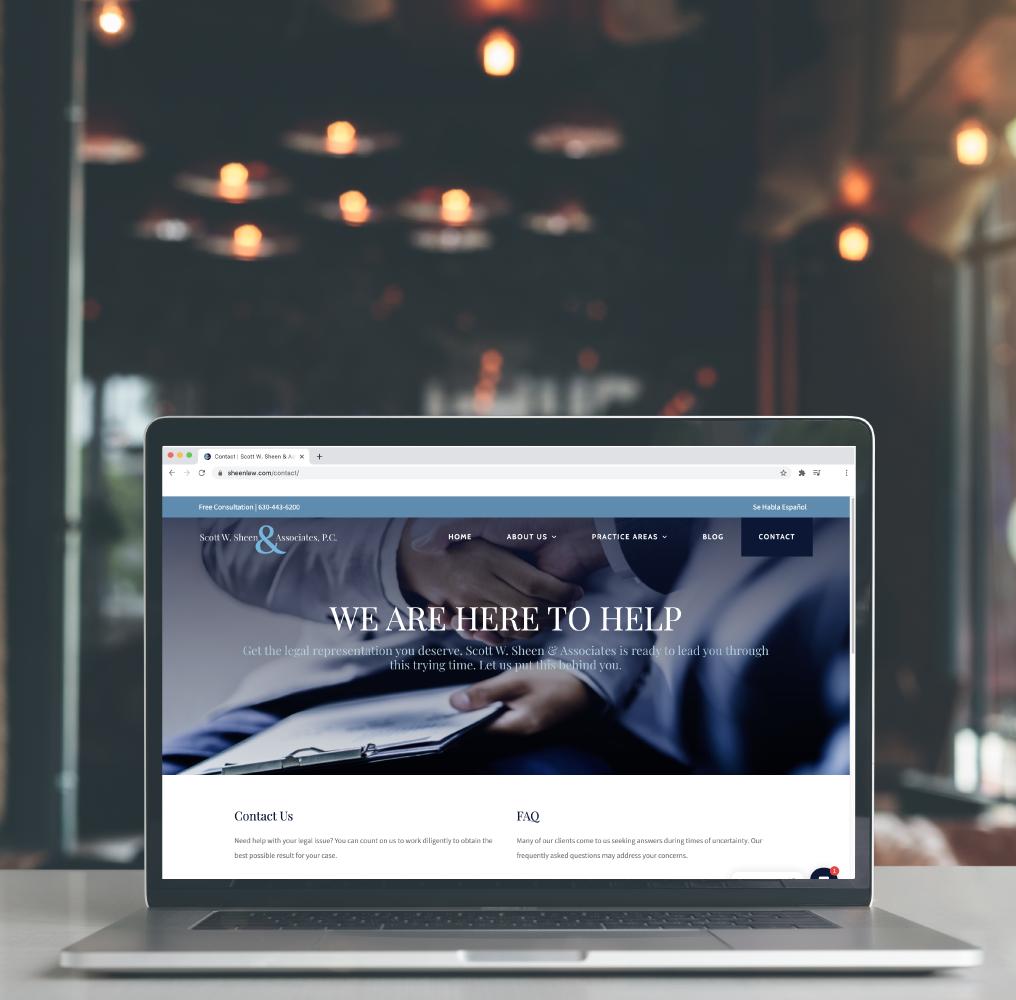 Scott W. Sheen & Associates Website Design on Laptop