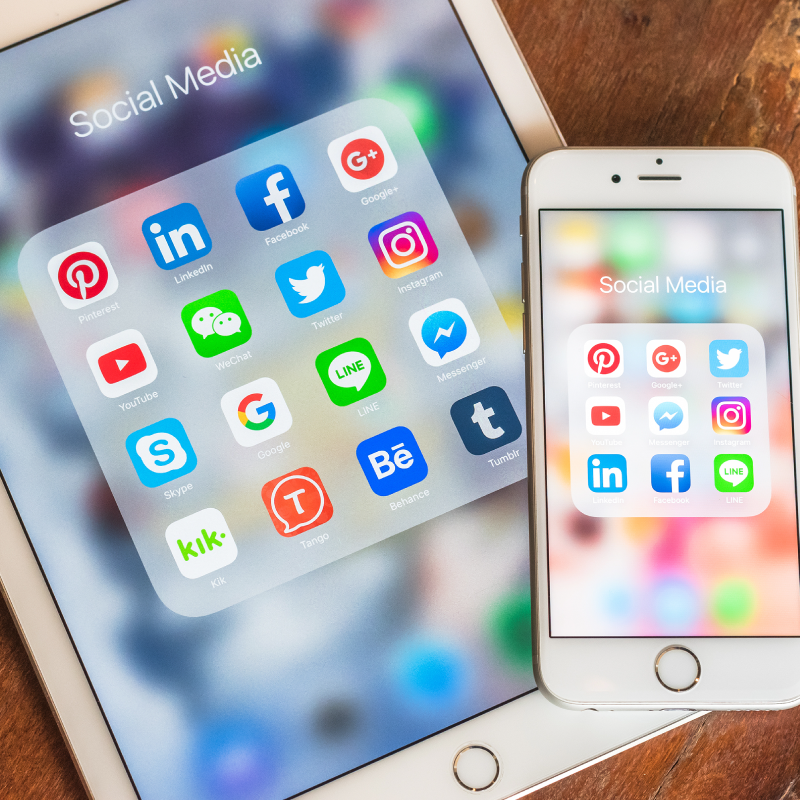 Social Media Icons on Mobile Device Screens
