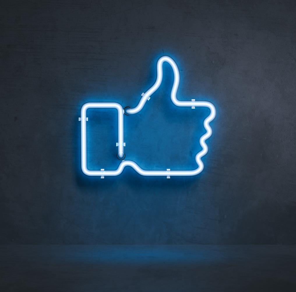 Neon Light Blue Facebook Thumbs Up