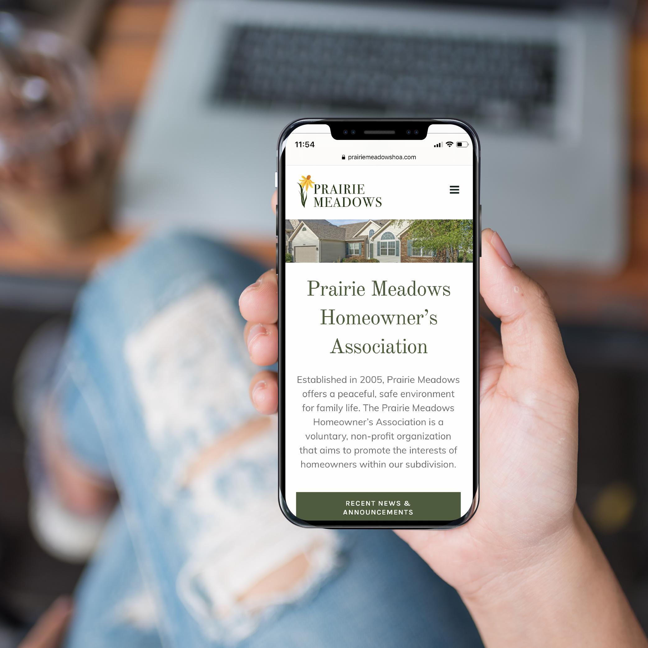 Prairie Meadows HOA Website Design on Smartphone