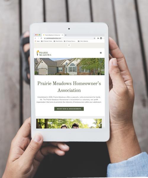 Prairie Meadows HOA Website Design on Tablet