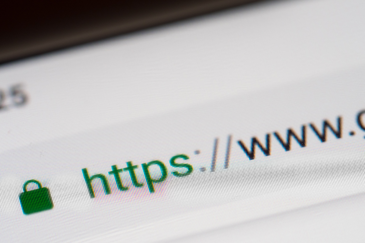 Website Address Bar with HTTPS Indicator for SSL Certificate