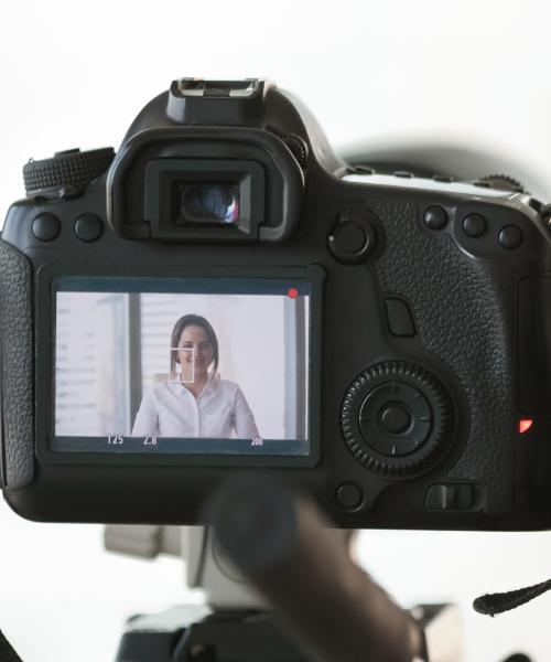 Woman Posed Seen through Camera LCD Screen