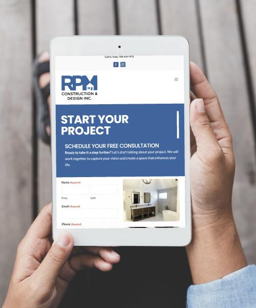 RPM Construction & Design Website on Tablet Screen