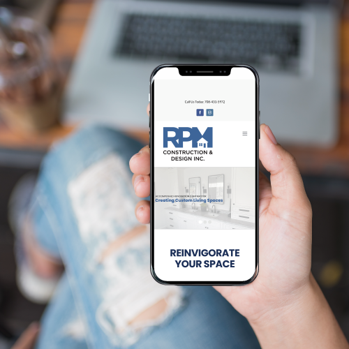 RPM Construction & Design Website on Smartphone Screen