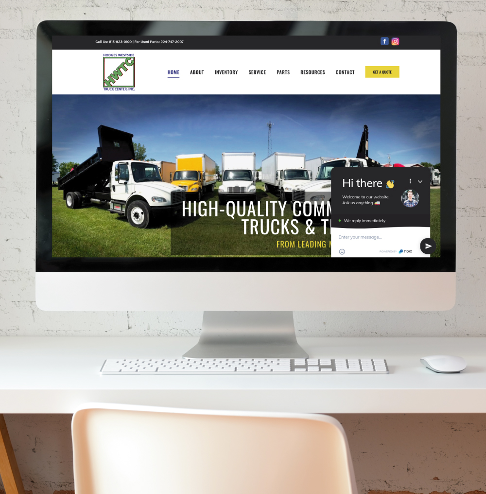 Hodges Westside Truck Center Website on Desktop Screen