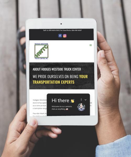 Hodges Westside Truck Center Website on Tablet Screen