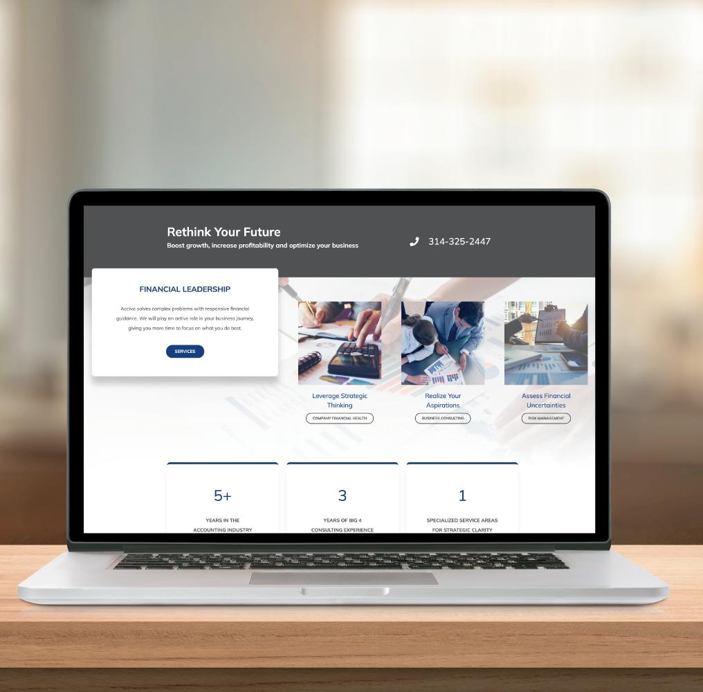 Acciva Website on Laptop Screen