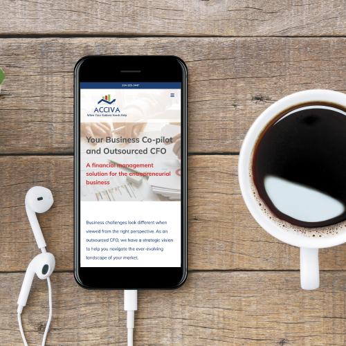 Acciva Website on Smartphone Screen