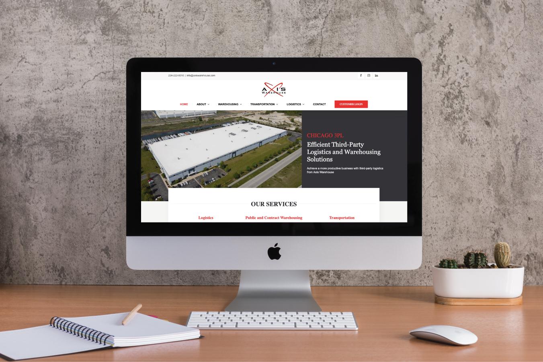 Axis Warehouse Website on Desktop Screen