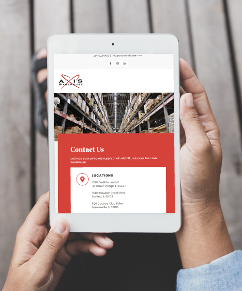 Axis Warehouse Website on Tablet Screen