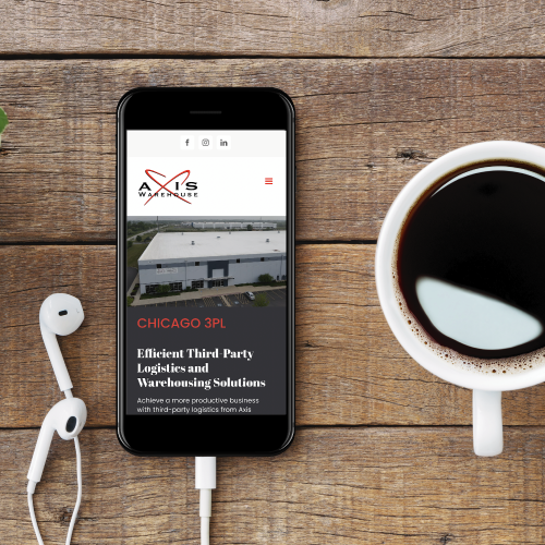 Axis Warehouse Website on Smartphone Screen