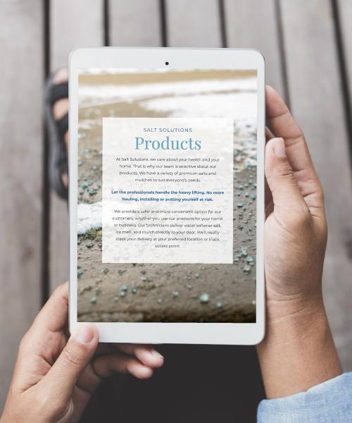 Salt Solutions Website on Tablet Screen